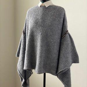 Zara Oversized Knit Cloak with Beaded Detailing